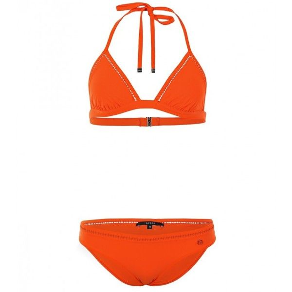 Gucci Orange Triangle Bikini ($405) ❤ liked on Polyvore featuring swimwear, bikinis, triangle bikini swimwear, gucci bikini, orange necktie, orange bikini swimwear and orange swimwear