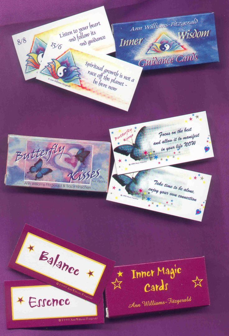 3 decks inspirational cards.  Butterfly Kisses Inspirational cards, Inner Wisdom Guidance cards and Inner Magic cards by Ann Williams-Fitzgerald.  Place the cards into a bowl and select one each day for your daily message of inspiration and guidance. http://www.innerwisdom.com.au/innerwisdom/index.html