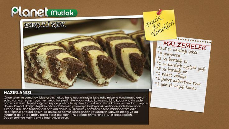 """""""Pratik Ev Yemekleri"""" programında Sevim Malkadı'nın seçtiği ve programında sizler için yaptığı """"Ebruli Kek"""" tarifi.  Tarifi paylaşan seyircimiz Neşe Canbaz Cılız'a teşekkür ediyoruz."""