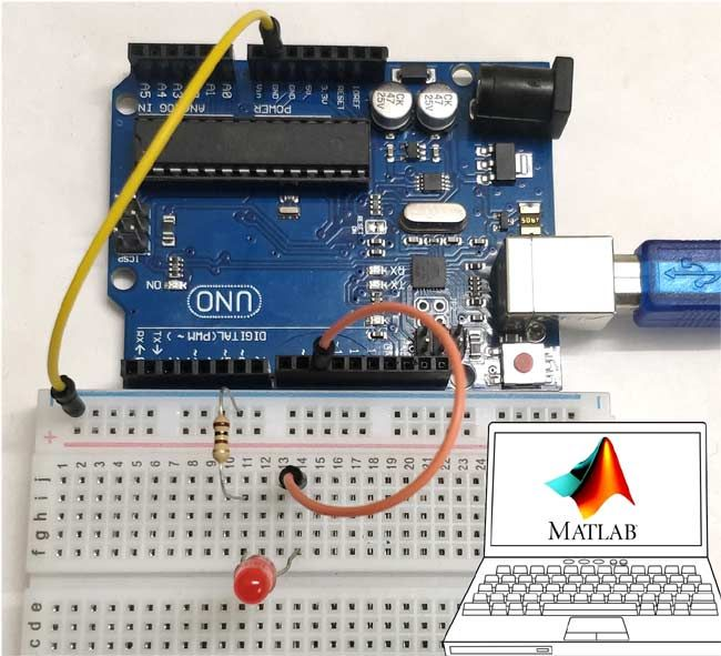 Interfacing Arduino With Matlab Blinking Led Arduino Arduino Projects Control Systems Engineering