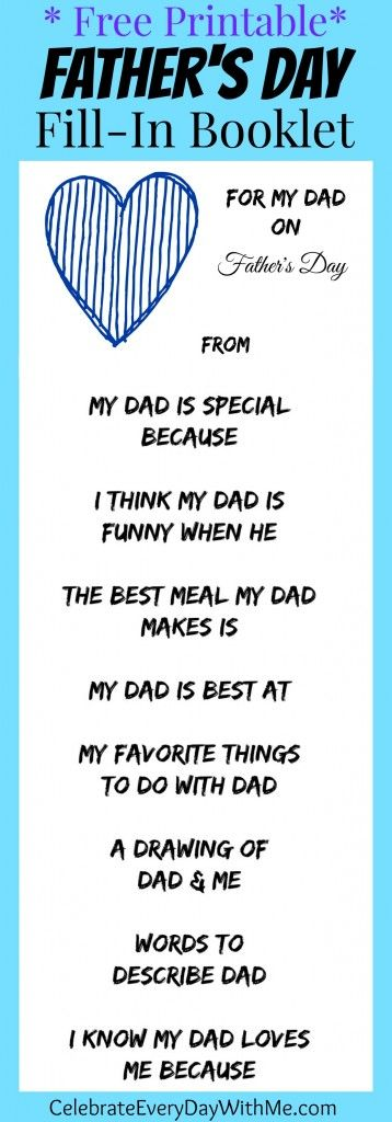 free printable - father's day fill in booklet