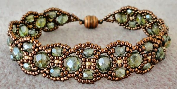 "Linda's Crafty Inspirations: February 2014-- CANTERBURY 11/0 seed beads Matsuno ""Copper"" (11-457A) 11/0 seed beads Miyuki ""Lt. Caramel Ceylon"" (11-593) 4mm fire polished beads ""Lumi Coated Green"" or ""Transparent Green Luster"" 6mm fire polished beads ""Lumi Coated Green"" or ""Transparent Green Luster"