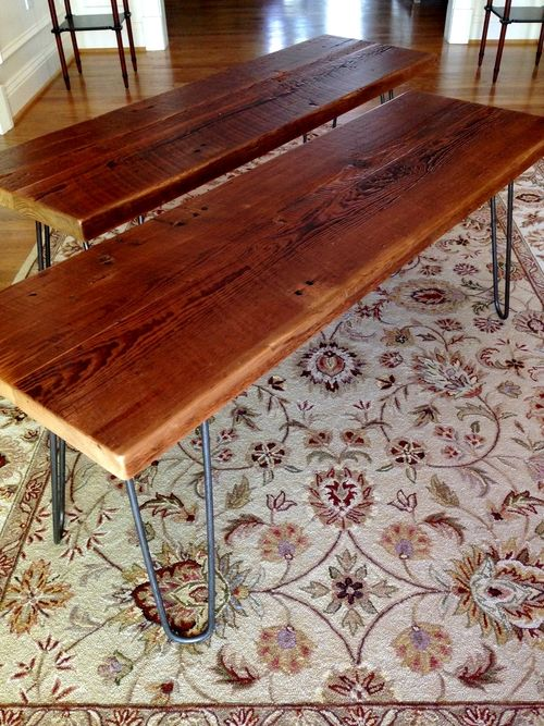 Original finish benches with hairpin legs