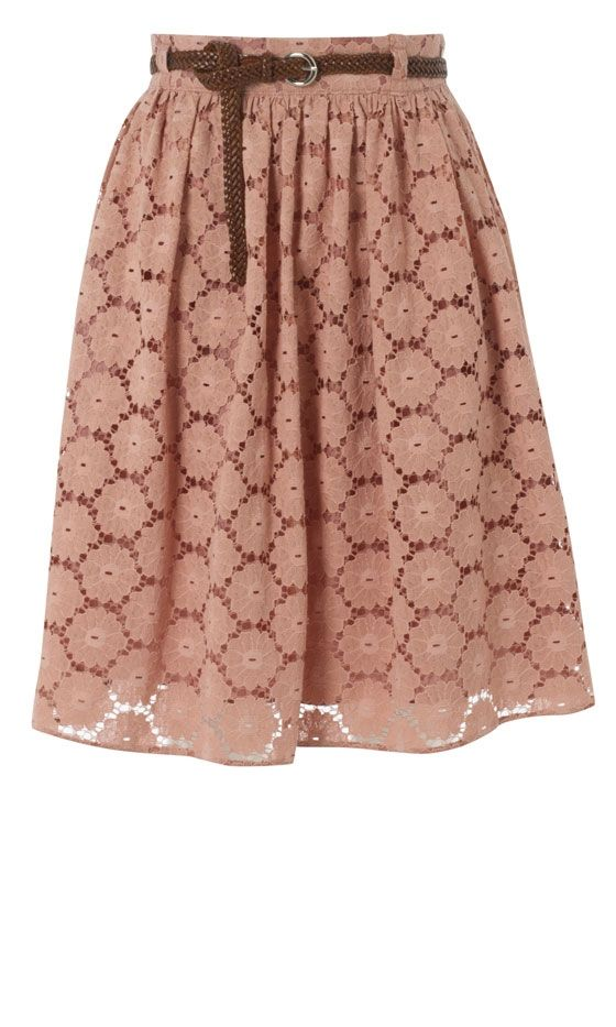 Lace Belted Midi Skirt