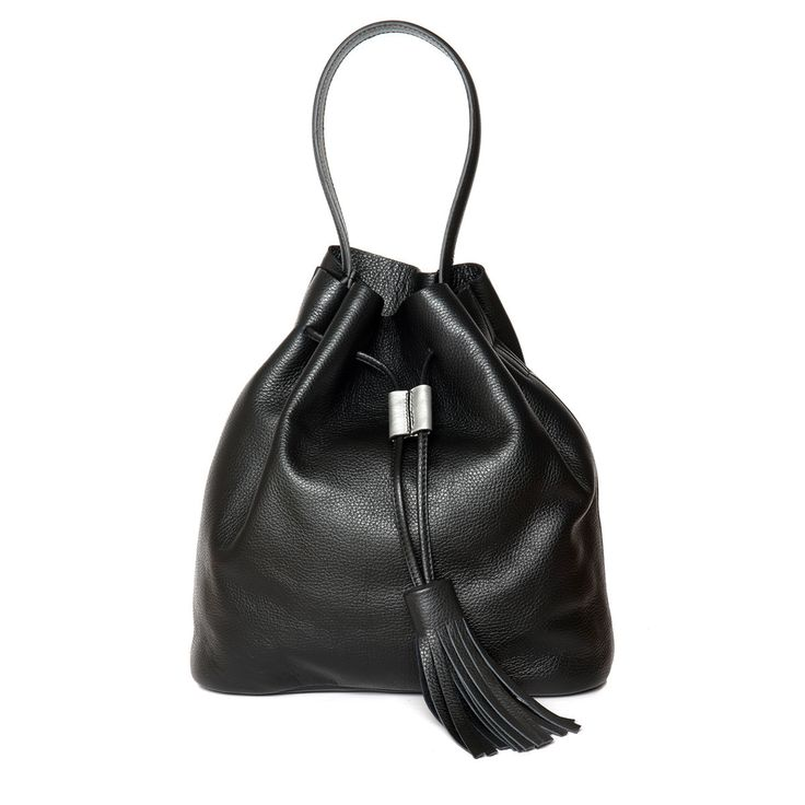 "Blankens calf grain leather black draw string bucket bag, with details in silver leather and big tassels - is hand made in Italy. The bag has an inner pocket that perfectly fits your smaller goods such as a phone and your keys, the roomier main department of the bag easily fits all your larger stuff - and could even carrie a smaller laptop or tablet or a bigger camera. ""The Theresa"" is protected by a robust outer layer of black grain leather in the bottom."