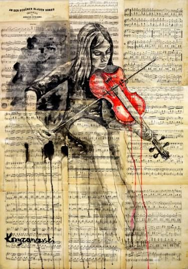 "Saatchi Art Artist Krzyzanowski Art; Painting, ""The red violin"" #art"