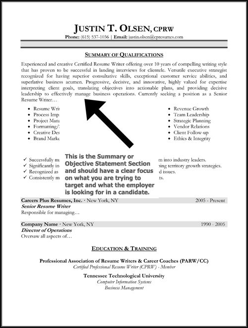 resume objective statement sample httpwwwresumecareerinforesume - Professional Resume Objectives