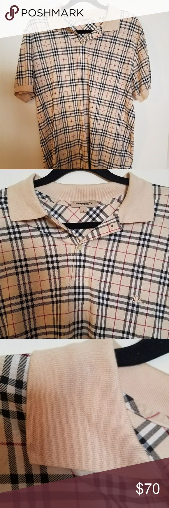 """Men's Authentic Burberry London check polo Men's Authentic Burberry London check short sleeve polo shirt.  Fantastic Condition  (see pics)  23"""" Armpit to armpit. Please compare LAST PIC  Better Price through PPal Text me  Eric 925-984-1655  Low-ball offers will be ignored, sorry no trades  If you have an offer, make an offer, don't comment and ask if I'll take a certain amount.  Thanks Burberry Shirts"""
