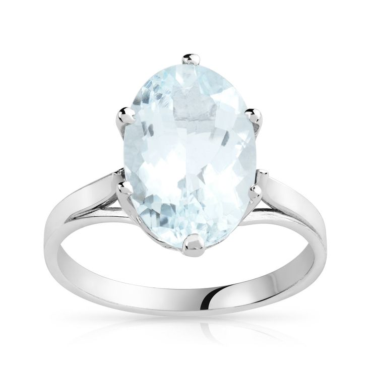 Bague or blanc aigue-marine