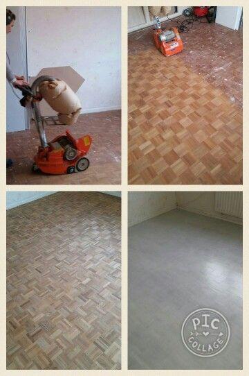 Houten vloer geschuurd en drie lagen whitewash vloerverf.