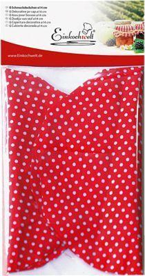 6er-Set Stoffdeckchen Einweckgläser ´´Püncktchen´´, Ø14 cm rot/weiß Erwachsene Jetzt bestellen unter: https://moebel.ladendirekt.de/kueche-und-esszimmer/besteck-und-geschirr/glaeser/?uid=7ce9335d-b243-54d0-83a1-393025aa0b98&utm_source=pinterest&utm_medium=pin&utm_campaign=boards #geschirr #kueche #kochen #glaeser #esszimmer #besteck Bild Quelle: www.yomonda.de