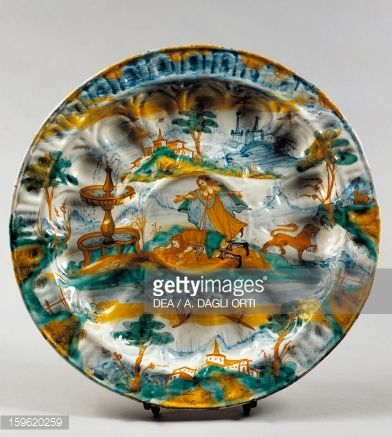 Stock Photo : Ribbed plate with image of fountain of love and myth of Pyramus and Thisbe, ceramic, Albisola manufacture, Liguria, Italy, 17th century