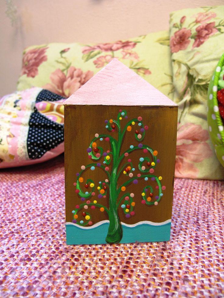 Christmas, gingerbread house, wooden money box www.facebook.com/SofiaFileasArt