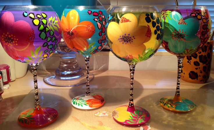 """My hand painted """"Tropical Wild"""" wine glasses"""