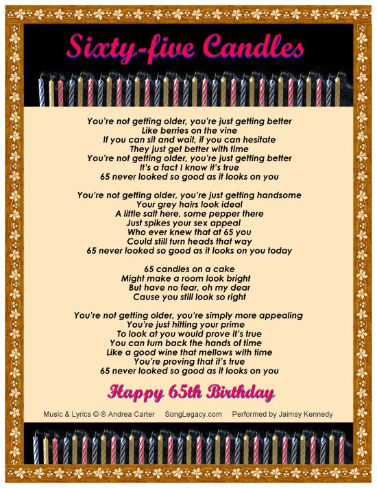Happy 60th Birthday Poems 65th Birthday Song For A