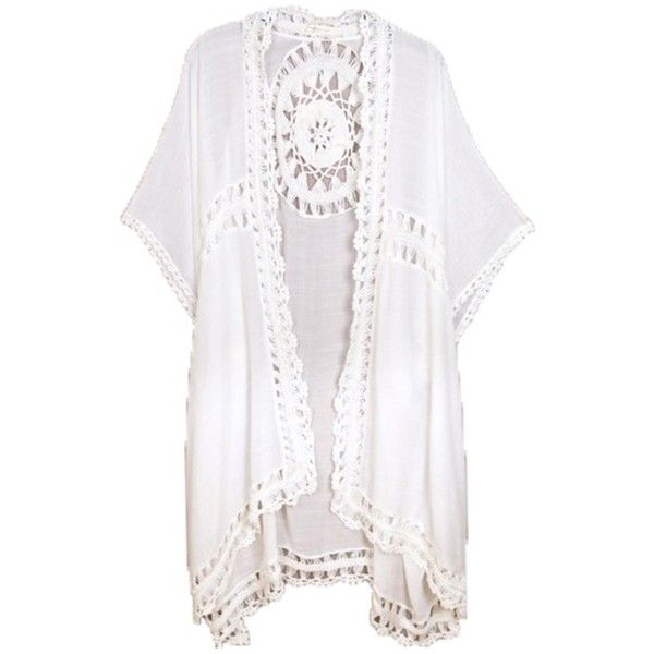 Do Everything In Love Kw Fashion - Crochet Kimono Coverup ($68) ❤ liked on Polyvore featuring swimwear, cover-ups, kimonos, tops, bathing suit, beachwear, jackets, white bathing suit, crochet swim cover up and crochet beach cover up