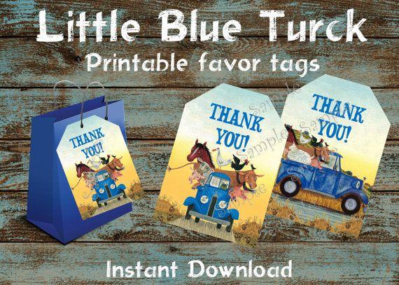 Little Blue Truck Favor tags, Little Blue Truck Birthday, Little Blue Truck Party, Little Blue Truck gift cards, Little Blue truck bag tag
