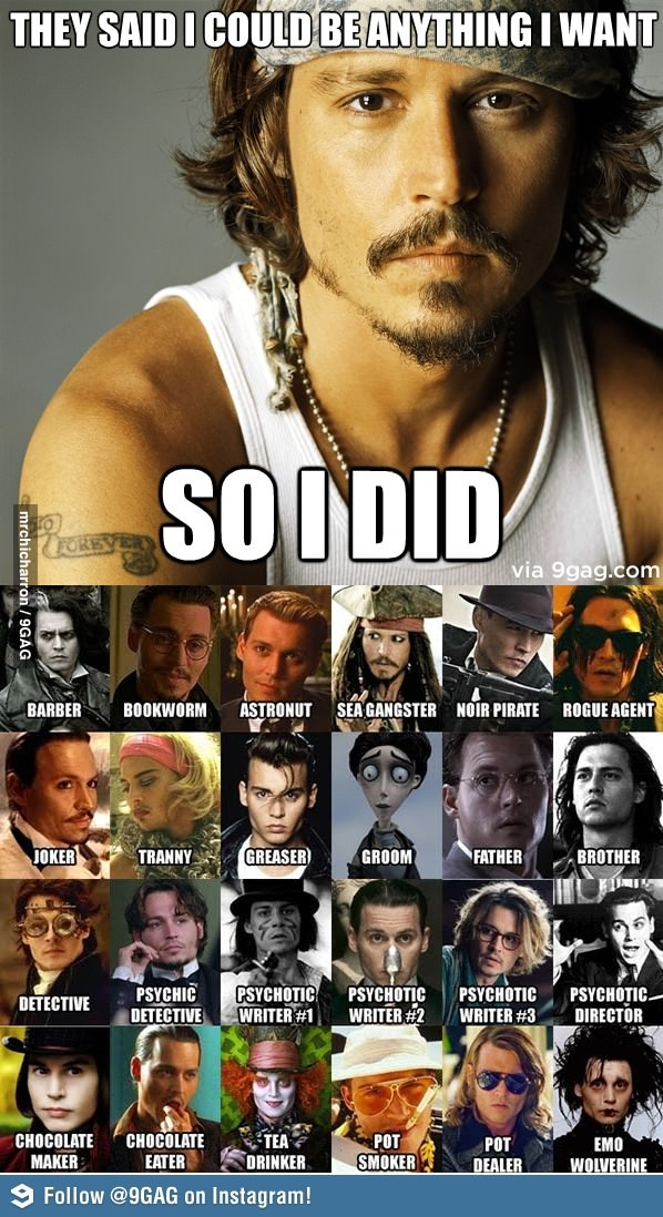Love this man and all his sides... If I could be an actor I would want to be like him,  and have the ability to fascinate people while bringing them into my different worlds/characters' lives.  He captures our hearts and imagination while being strange and personable. Depp has depth. <3