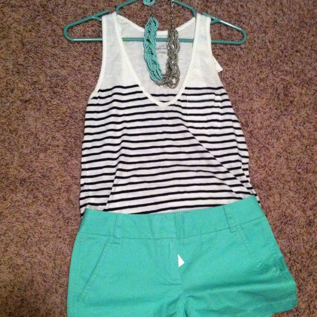 Simple & Cute: Mint Shorts Outfits, Colors Shorts Outfits, Mint Green Shorts Outfits, Shorts Outfits For Summer, Stripes Tanks, Stripes Shorts Outfits, Jcrew Outfits Summer, Summer Outfits Mint Shorts, J Crew Colors