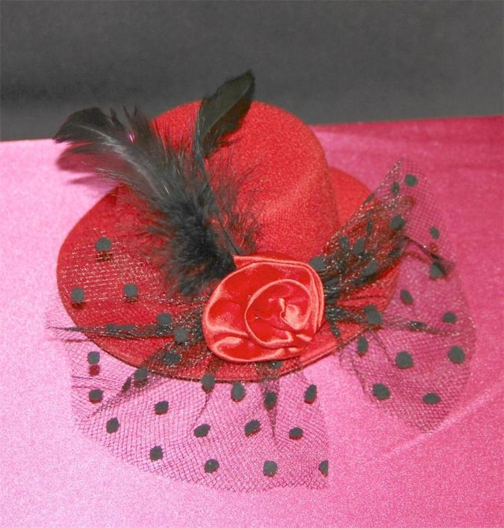 Sexy Red Top Hat w/ Black Lace Veil & Feathers & Rose Hair Fascinator Valentines #na #Fascinator