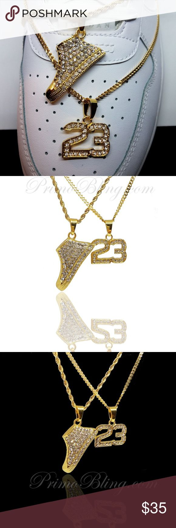 """14k Gold Plated Hip Hop Jordan Necklace Bling Set This Set is a must have for any Jordan enthusiast! Iced Out completely these pendants are made of jewelers brass and 2x Plated in 14k Gold Plating!  14k Gold Plated Shoe Retro Pendant #23 Pendant  24"""" Cuban Link Chain 24"""" Rope Chain (4 pcs Set) primobling Accessories Jewelry"""