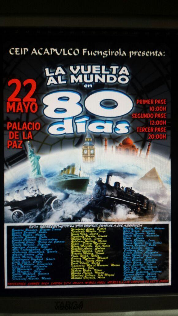 """""""La vuelta al mundo en ochenta días"""" representada por l@s alumn@s de sexto curso de primaria del CEIP ACAPULCO el  viernes 22 de mayo de 2015 en el Palacio de la Paz de Fuengirola (Málaga)."""