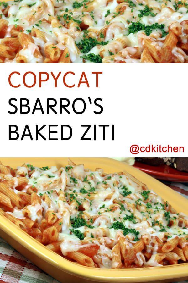 Made with mozzarella cheese, ziti, ricotta cheese, Romano cheese, tomato sauce, pepper   CDKitchen.com