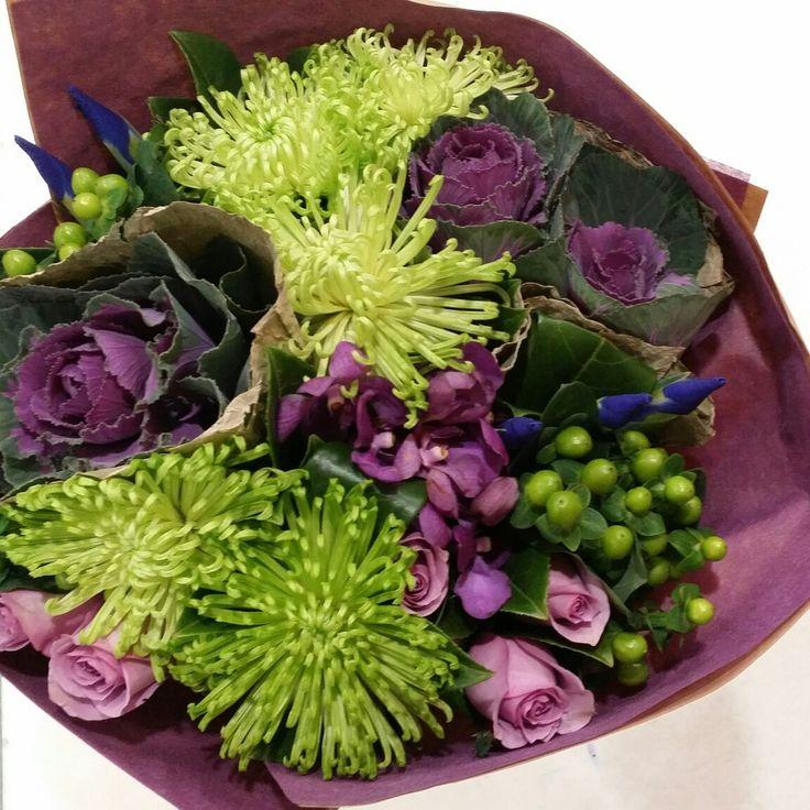 Purple and green flower bouquet  www.thepaperroseflorist.com.au