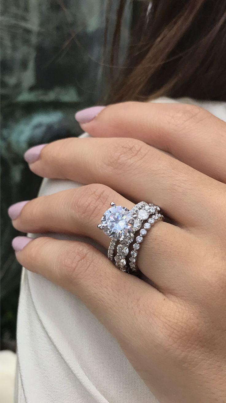 solitaire engagement ring, solitaire engagement ring round, 3ct engagement ring, eternity band, stacked wedding ring, Armentor Jewelers