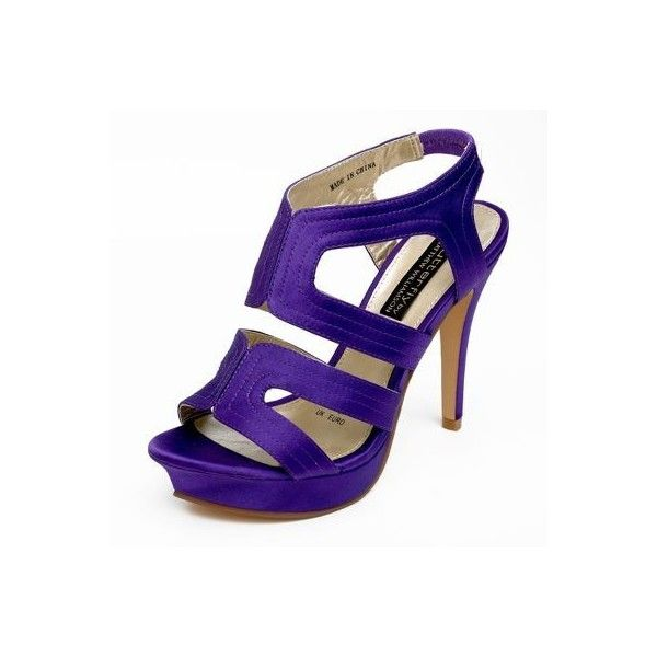 Purple stitch detail high sandals ($41) ❤ liked on Polyvore featuring shoes, sandals, heels, high heels, purple, high heel shoes, women, women's footwear, purple heeled sandals and platform heel sandals