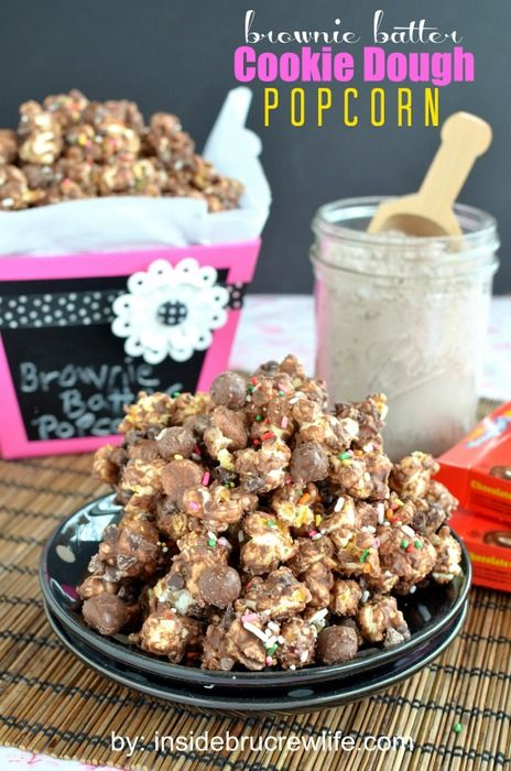 Brownie Batter Cookie Dough Popcorn from insidebrucrewlife.com - brownie mix added to chocolate gives this popcorn a fun twist #popcorn #cookiedough #lifestylecrafts