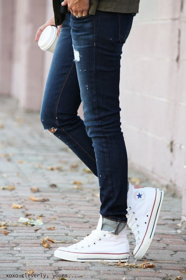 Cleverly Yours Wearing Jeans From Siwy Denim And Converse Shoes