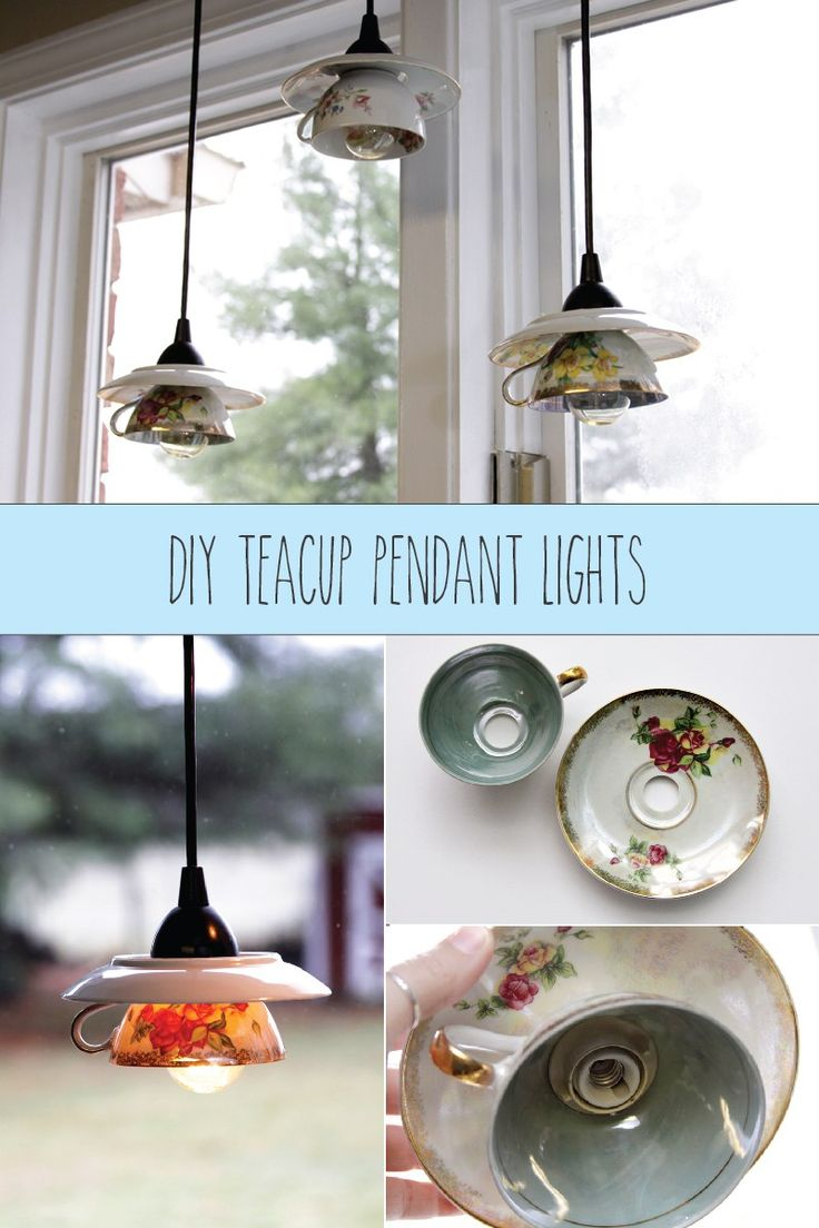 DIY Teacup Pendant Light Shades   These Pretty Vintage Light Shades Are So  Fun And Easy To Make!