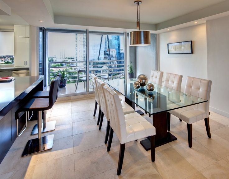 Modern Dinning Room Great Glass Top Table Design Apartment Dining