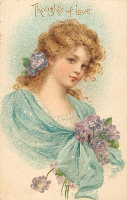 THOUGHTS OF LOVE  woman in blue, has blonde hair with flower in it, purple flowers at her chest