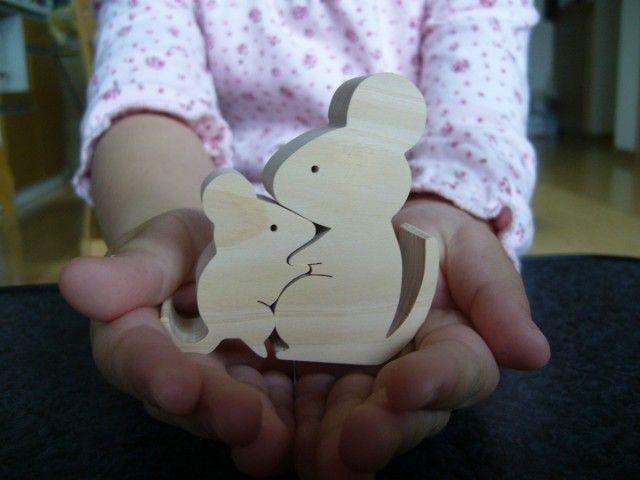木のおもちゃ 動物組み木 ねずみの親子の画像4枚目