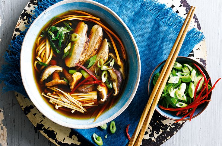 An easy Asian recipe - this warming chicken & mushroom ramen is brimming with soy sauce, 5-spice & ginger. Find more Japanese recipes at Tesco Real Food.