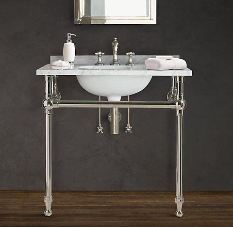 RHs Gramercy Metal Sinks WashstandsRestoration Hardwares Collection Of Bathroom And Tubs Are Naturally Beautiful Each Console Sink
