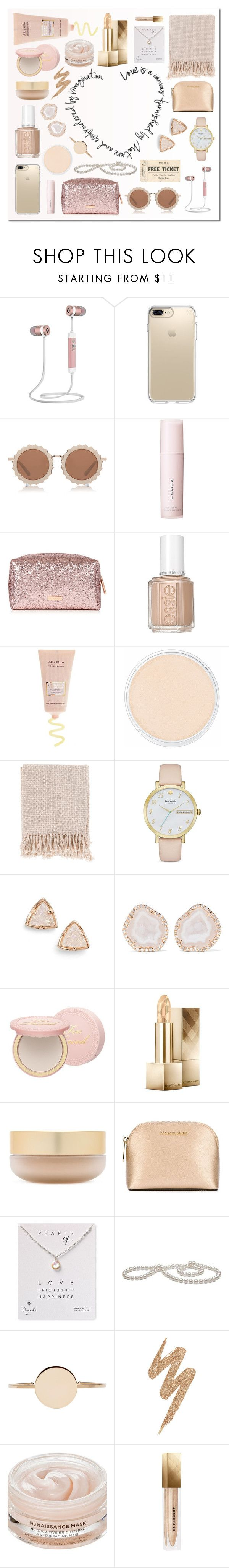 """neutral stocking"" by milimacculloch ❤ liked on Polyvore featuring Speck, House of Holland, SUQQU, Essie, Clinique, Surya, Kate Spade, Kendra Scott, Kimberly McDonald and Too Faced Cosmetics"