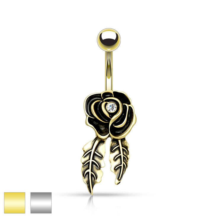 Rose Belly Ring Gold and Silver Navel Ring Body Jewelry Piercing Jewelry