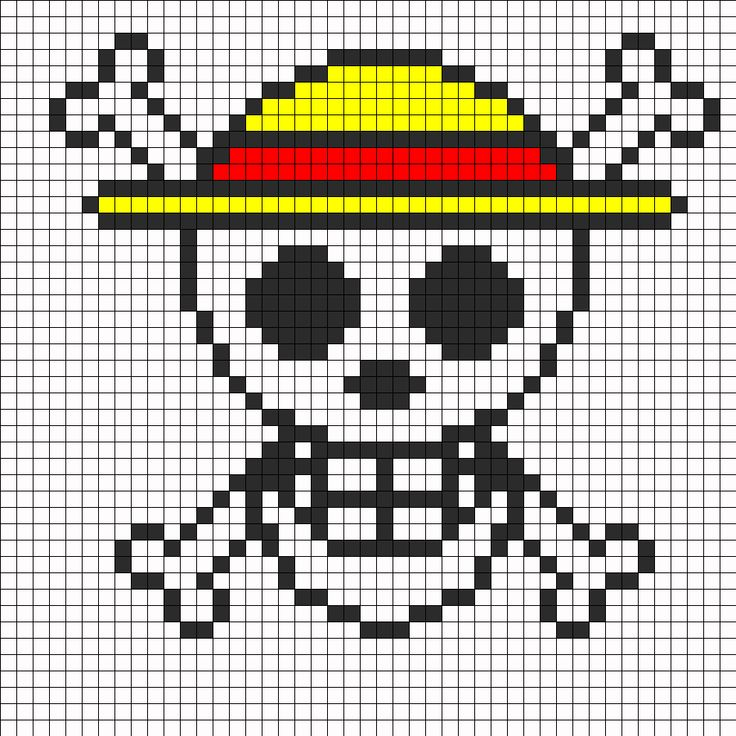 One Piece Logo Perler Bead Pattern | Bead Sprites | Misc Fuse Bead Patterns