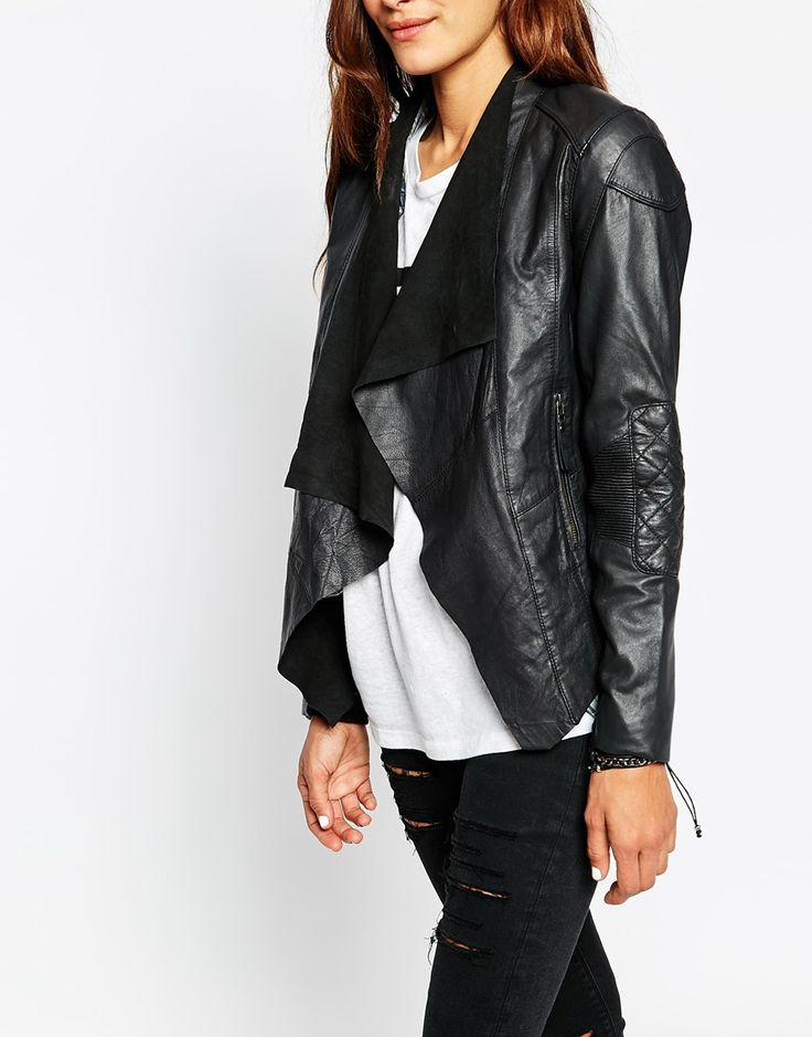 Image 3 ofASOS Leather Jacket with Waterfall Front and Quilt Detail