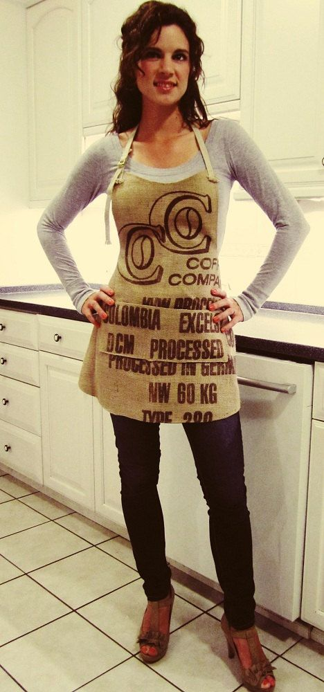 Burlap Apron with Pockets, Coffee Sack Apron, Upcycled Repurposed Recycled