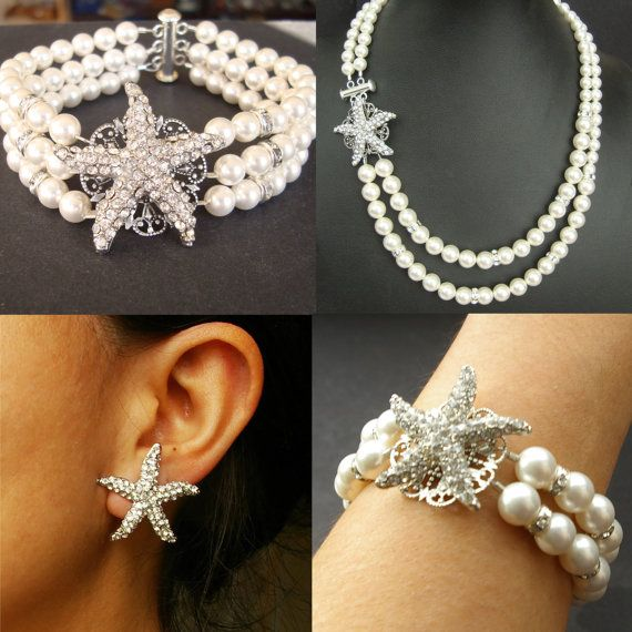 Starfish Bridal Necklace Pearl Wedding Necklace by luxedeluxe