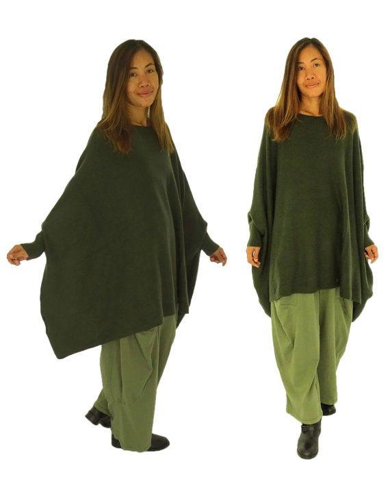 HR200GN kastig gesneden trui tuniek gebreid poncho Gr. 40-52 groen