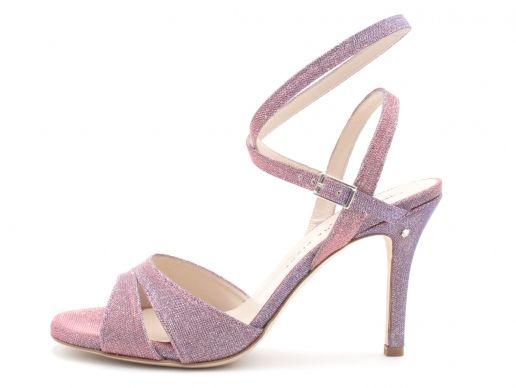 Sandalo VIRGINIA Tessuto cangiante Glicine. Tango shoes collection E luce sia!