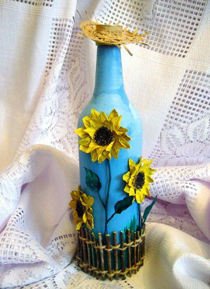 Украшение бутылки «Палисадник с подсолнухами». Обсуждение на LiveInternet - Российский Сервис Онлайн-Дневников
