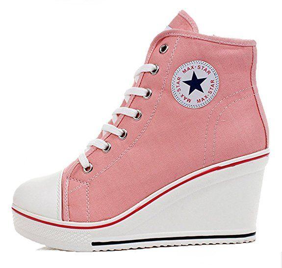 Padgene Baskets Mode Compensées Montante Sneakers Tennis Chaussures Casuel Toile Femme(rose,36): Amazon.fr: Chaussures et Sacs