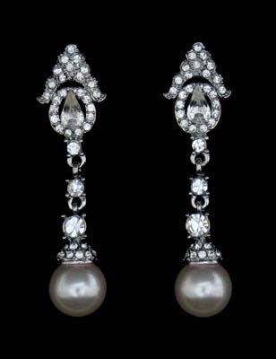 Rhinestones and Pearl Drop Earrings