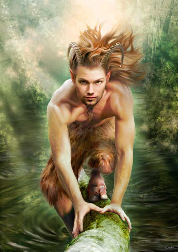 A wild Satyr or Faun. Generally when depicted as still youthful and innocent, goat-men are referred to as Fauns. (Greek God Pan)